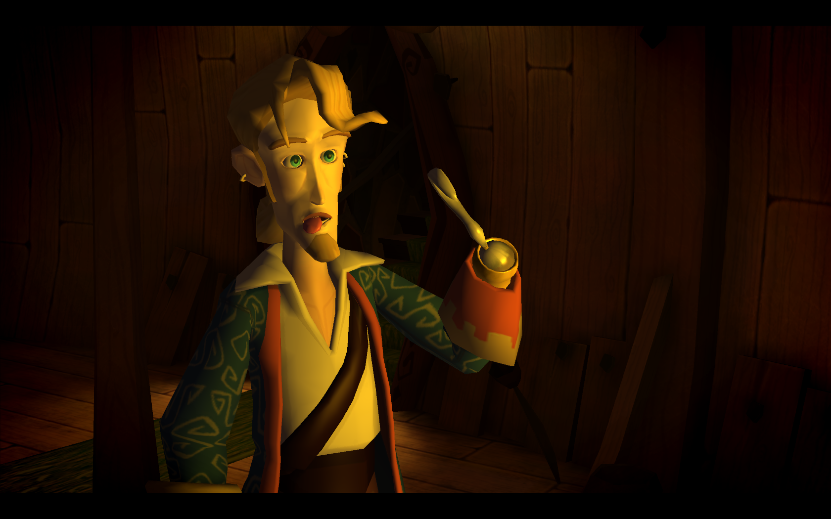 Guybrush goes bleeuh